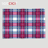 Custom Soft Fleece Throw Blanket Abstract Plaid Pattern Trendy Stylized with Vintage Scottish Effects Artsy Illustration Pink