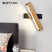 BOTIMI Adjustable LED Wall Lamp For Bedroom Bedside Wooden Wall Sconce White Wall Mounted Luminaire Modern Hotel Lighting