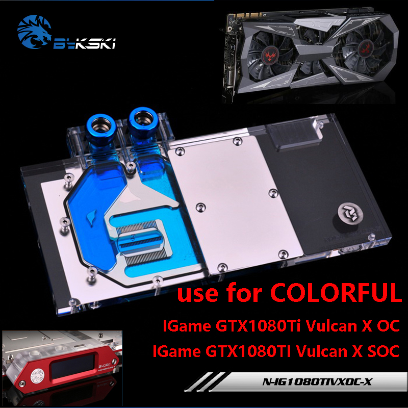 BYKSKI Water Block use for COLORFUL iGame GTX1080Ti Vulcan X OC/ 1070TI Vulcan X OC/TOP Full Cover Graphics Card Copper Block color block cami top
