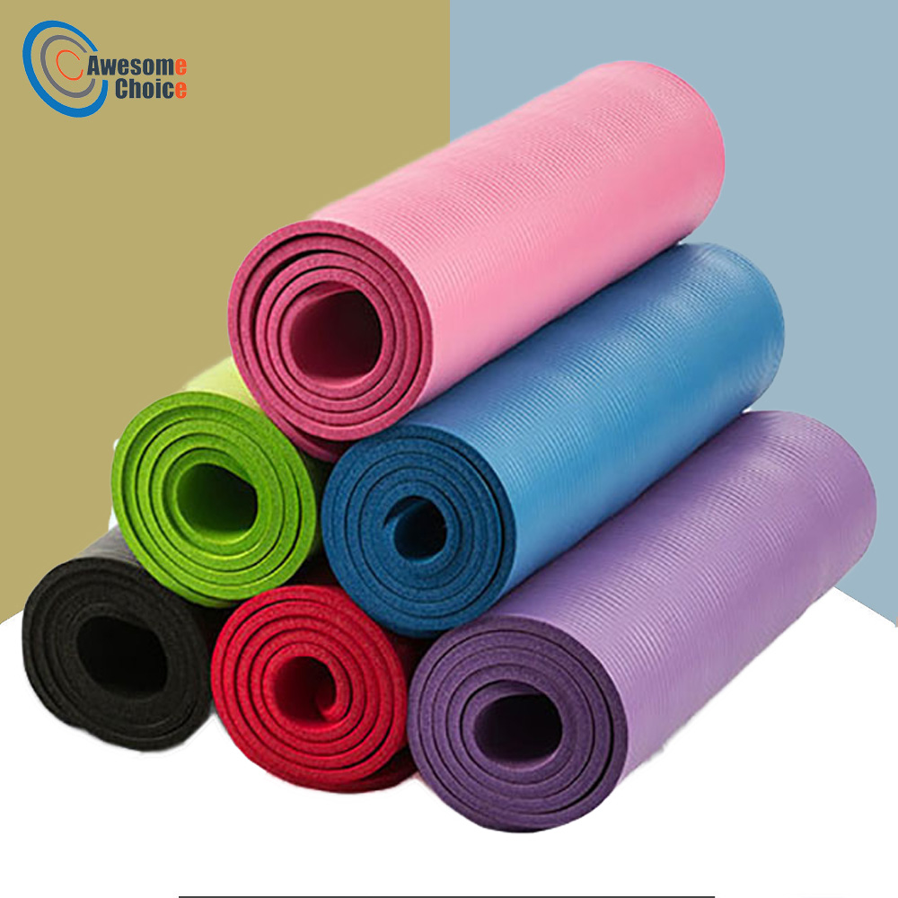 Quality 10mm NBR Yoga Mat With Free Carry Rope 183*61cm Non-slip Thick Pad Fitness Pilates Mat For Outdoor Gym Exercise Fitness