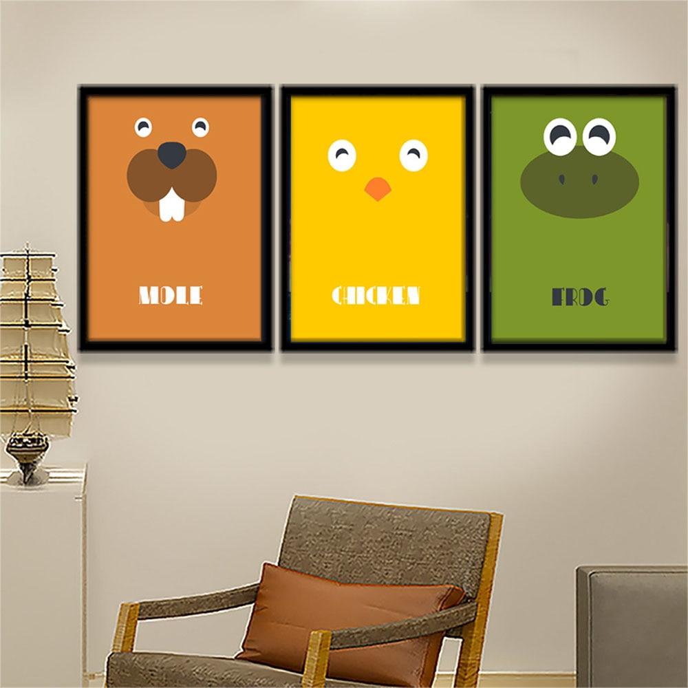 Cute Cartoon Animal Minimalist Art Canvas Poster Print Modern ...