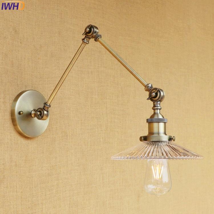 Здесь продается  IWHD Glass Brass Antique Wall Lamp Lights Bedroom Stair Vintage Loft Industrial Adjustable Swing Long Arm Wall Light Fixtures  Свет и освещение