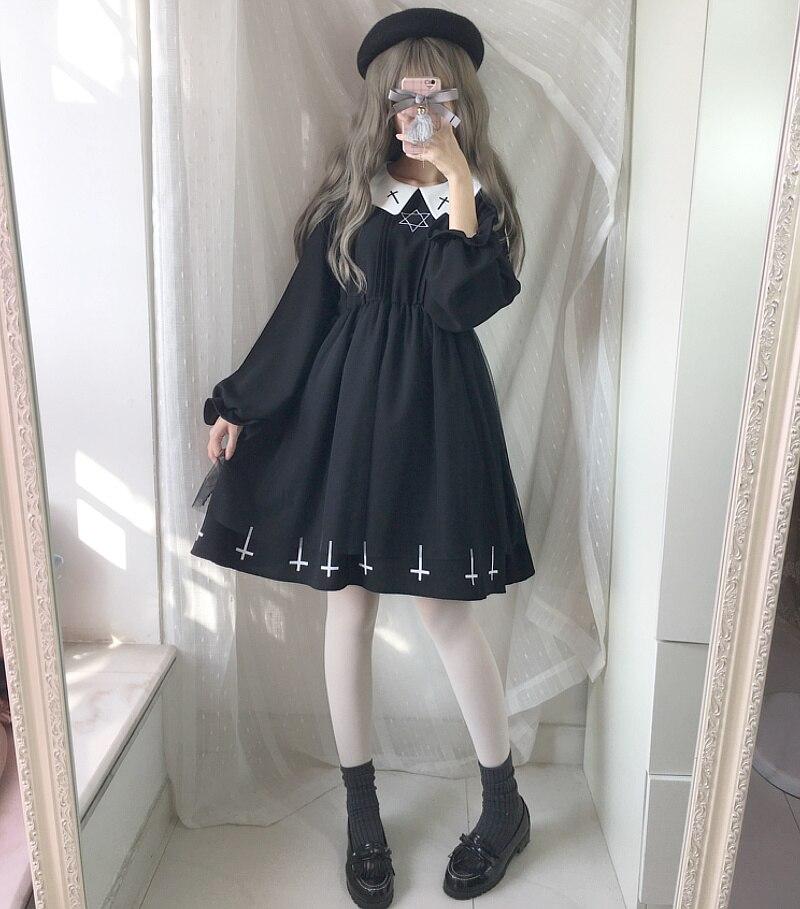 Harajuku Street Fashion Cross Cosplay Female <font><b>Dress</b></font> Japanese Soft Sister Gothic Style Star <font><b>Tulle</b></font> <font><b>Dress</b></font> Lolita Cute Girl <font><b>Dresses</b></font>