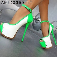 2019 New Plus Big Size 35-52 Red Black Green Buckle Fashion Sexy High Heel Platform Party Spring Lady Shoes Women Pump D1253 2019 new plus big size 37 47 black brown green blue red pink fashion sexy high heel spring summer lady shoes women pumps d1245