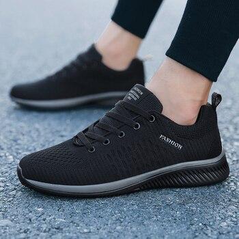 ceec5b77 Мужская повседневная обувь Новые сетчатые на шнуровке легкая мужская обувь  удобные дышащие прогулочные теннисные кроссовки Feminino Zapatos 2019