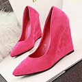 European Spring Fashion Sexy Minimalist Slim High-heeled Suede Shoes Women Pumps Wedges Shallow Mouth Pointed Toe Women's Shoes