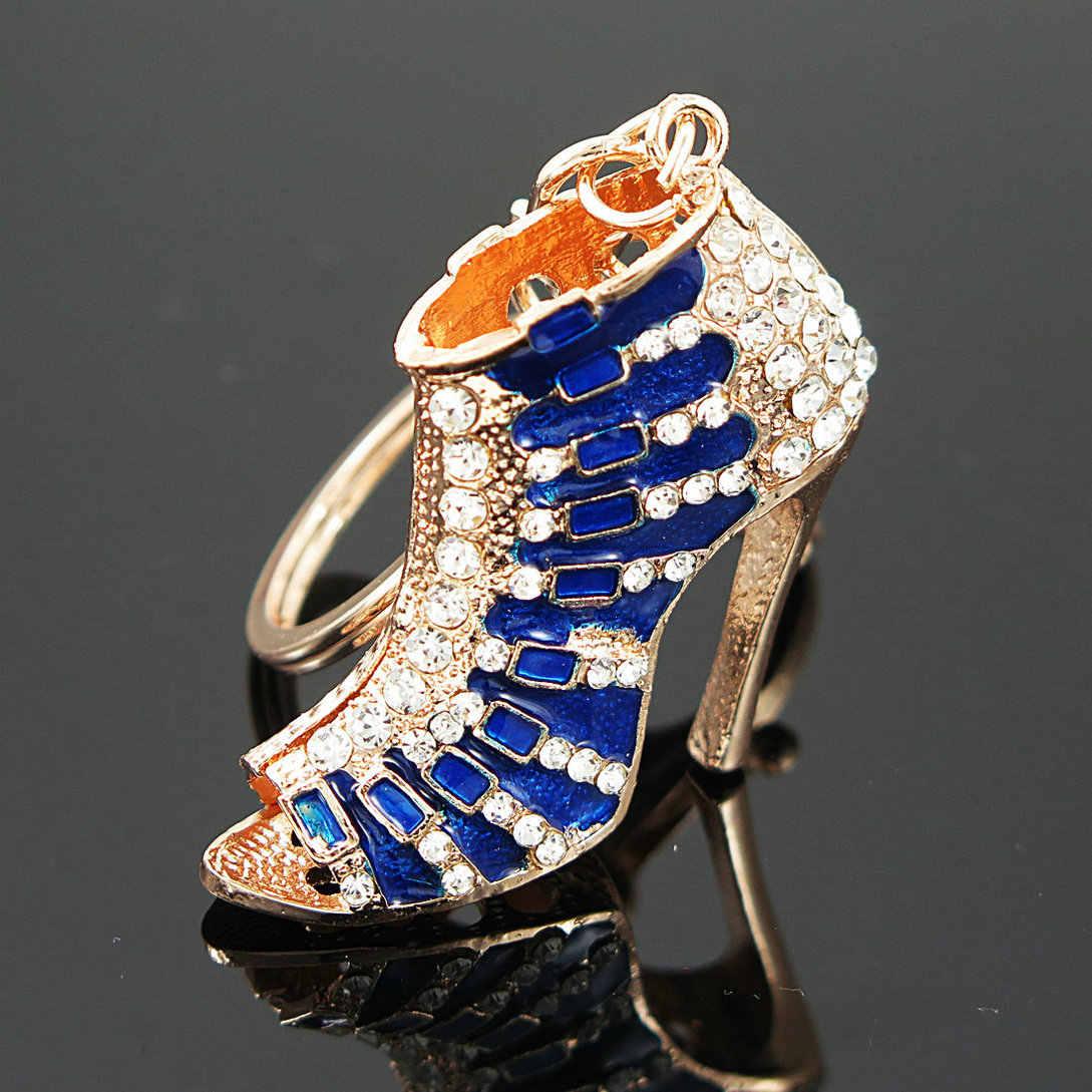 Charm Mavi Yüksek Topuk Ayakkabı Anahtarlıklar Anahtarlıklar Kristal Moda Çanta Çanta Toka Çanta Kolye Araba anahtar zincirleri Takı