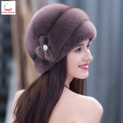Warm winter mink fur cap lady mink fur hat fur hat