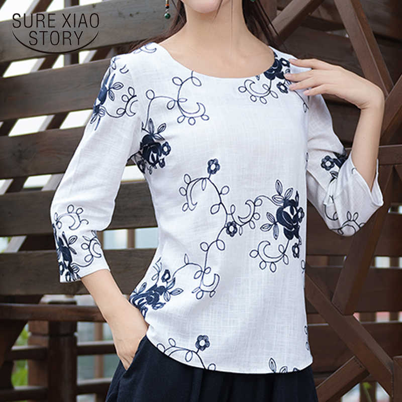 4955213386a 2018 fashion embroidery floral women blouse shirt cotton art retro women  tops summer plus size women s
