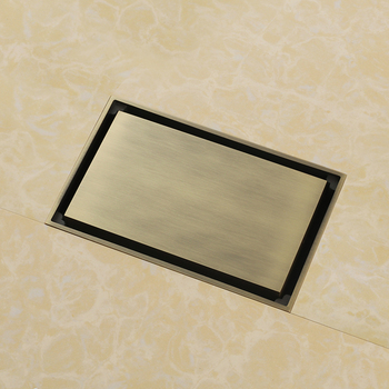 High quality Antique bronze solid brass 140 x 90mm square anti-odor floor drain bathroom invisible shower drain