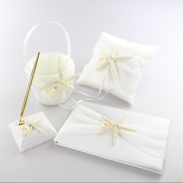 4 pièces/ensemble nouvelle mode étoile de mer Satin décoration de mariage anneau oreiller + panier de fleurs + livre d'invité + ensemble de stylo fournitures de produit de mariée