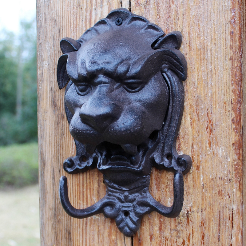 Vintage Large Black Lion Head Cast Iron Wall Hook With Two Hangers European Home Garden Wall Decorative Animal Head Hang Hook|Hooks & Rails| |  - title=