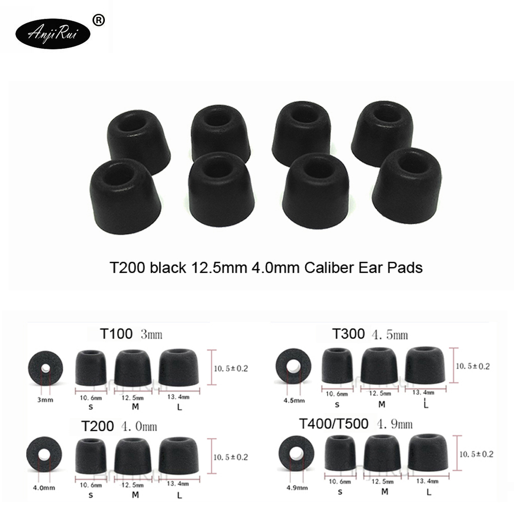 20 pcs/10 pairs.ANJIRUI Accordance T200 M Black Headphones 4.0 mm caliber Ear plugs Cotton Tips Foam Memory Sponge ear cushion