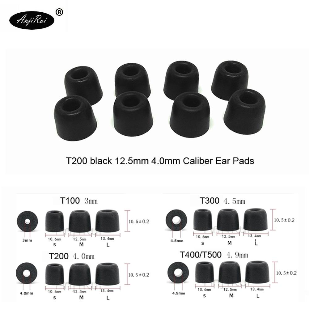 20 pcs/10 pairs.ANJIRUI Accordance T200 M Black Headphones 4.0 mm caliber Ear plugs Cotton Tips Foam Memory Sponge ear cushion