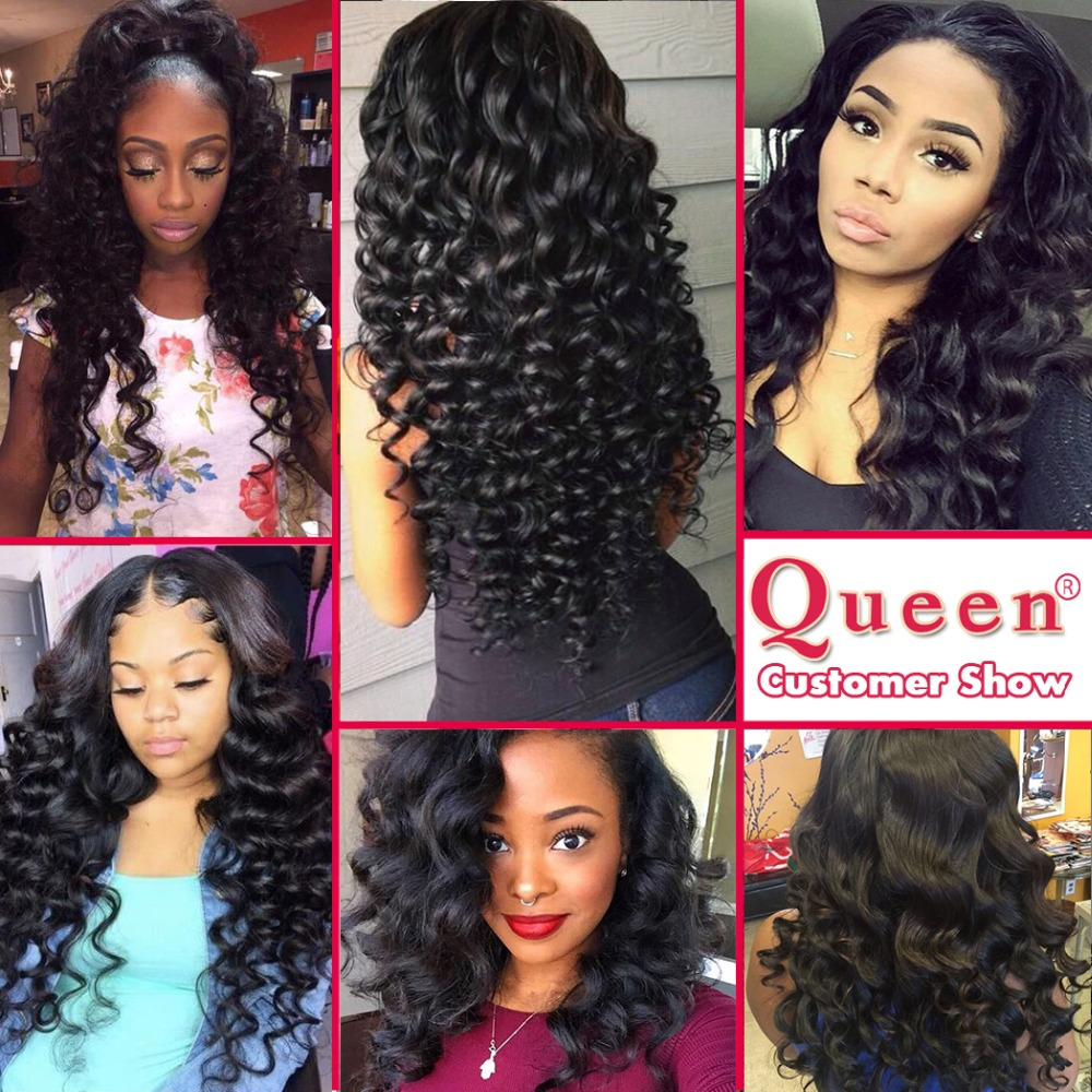 Queen Hair Products Loose Deep Wave Brazilian Hair Weave Bundles