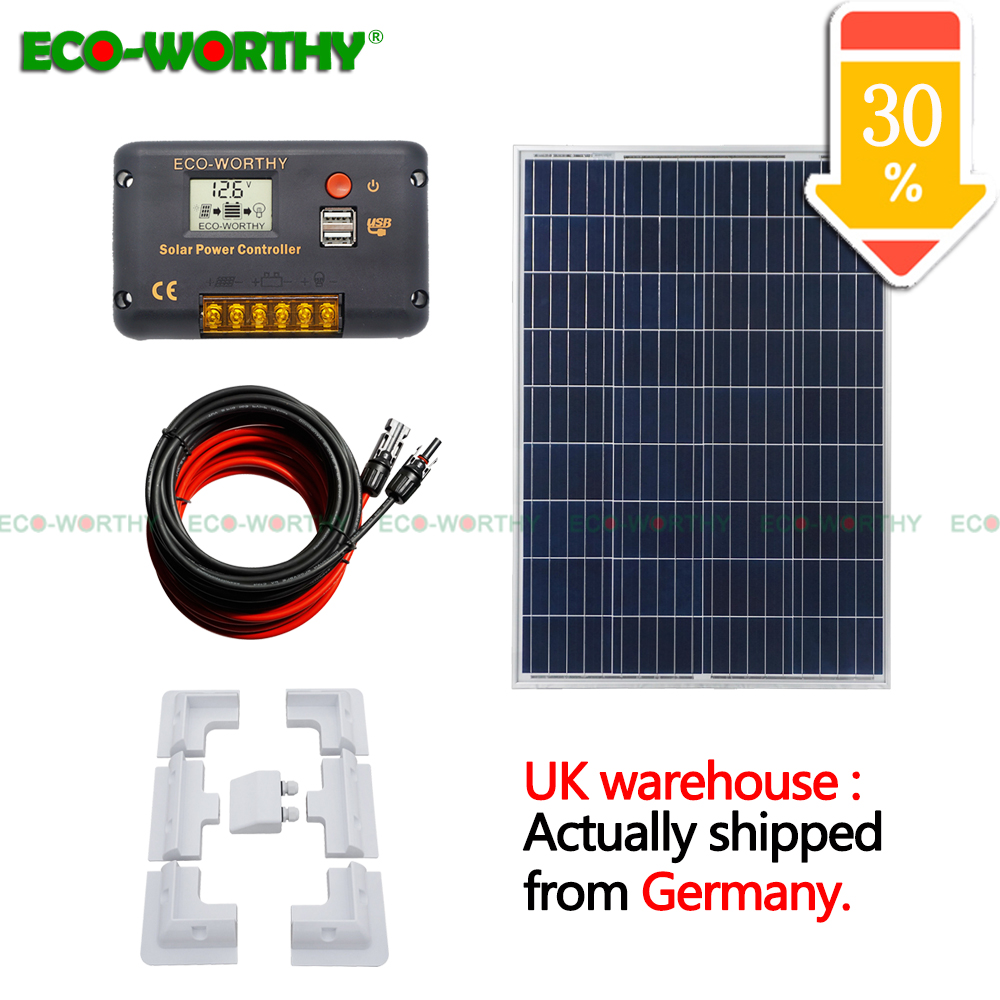 100W poly Solar Panel Kit 12V 10A Charger LCD Controller Bracket Caravan HOME solar energy system