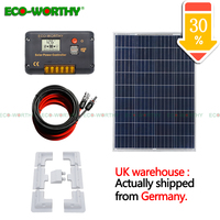 100W poly Solar Panel Kit 12V 10A Charger LCD Controller & Bracket Caravan HOME solar energy system solar cell solar panel
