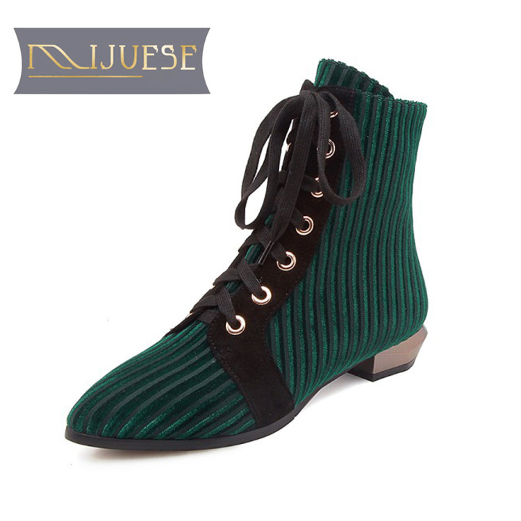 MLJUESE 2018 women ankle boots cow Suede Green color pointed toe lace up autumn spring casual