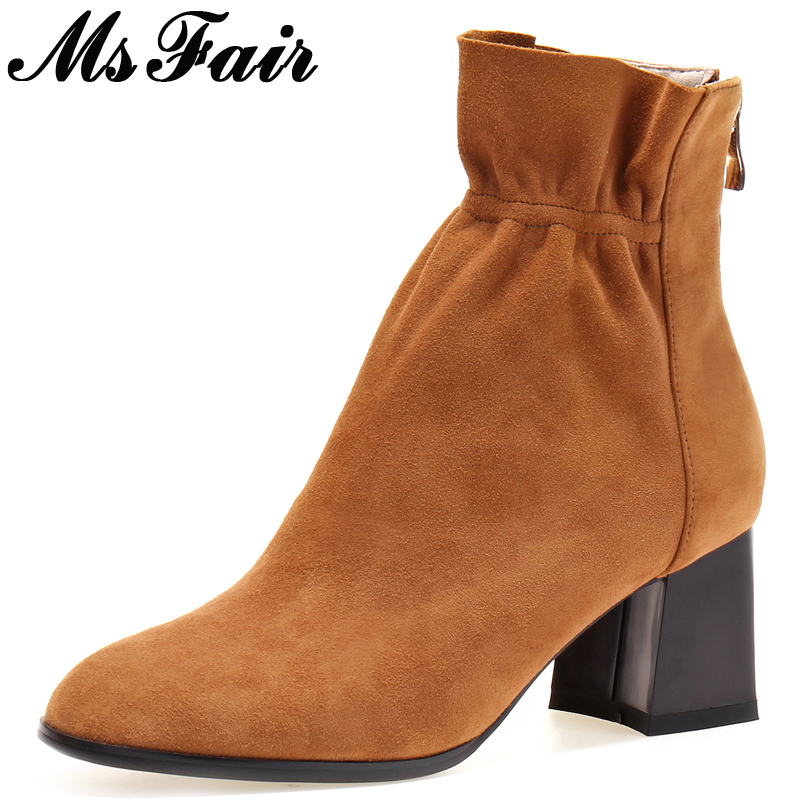 MsFair Pointed Toe High Heel Women Boots Fashion Square heel Beam Port Ladies Ankle Boot New Winter Zipper Ruffles Women's Boots nemaone 2018 women ankle boots square high heel pointed toe zipper fashion all match spring and autumn ladies boots