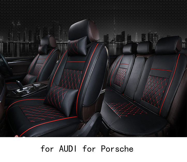 OUZHI easy clean firm grid pu leather car seat cover for audi a4 b6 audi a6 Porsche Cayenne front rear universal seat covers ouzhi brand black pu leather car seat cover front and back set for audi a1 a3 a4 a6 a5 a8 q1 q3 q5 qq7 car cushion covers