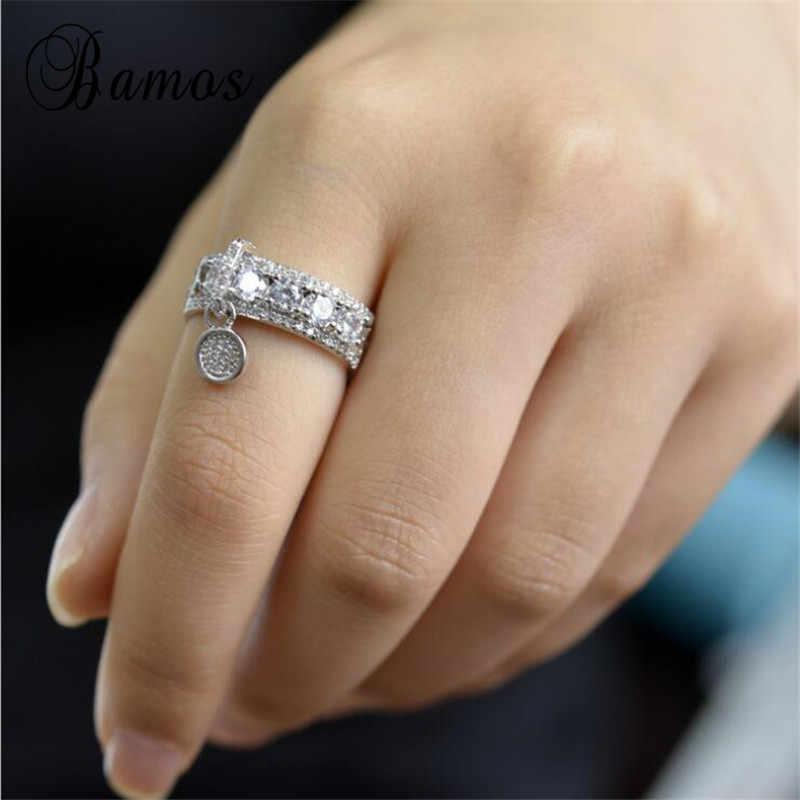Bamos Mewah Putih Zircon Cincin Pertunangan Vintage Mawar Emas Penuh Pernikahan Cincin untuk Wanita Perhiasan Fashion 2018 Baru