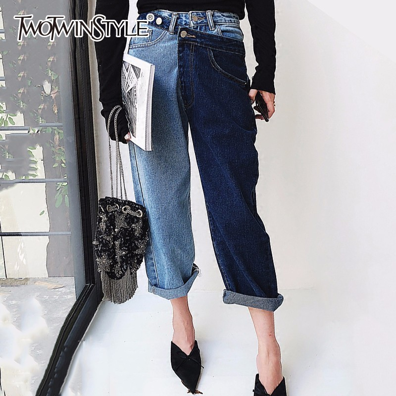 TWOTWINSTYLE Patchwork Jeans Female High Waist Irregular Denim Long Trousers For Women Summer 2019 Fashion Harajuku