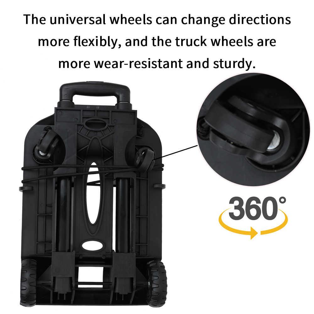 Carrito de viaje plegable portátil para compras, carrito de remolque de cama plana, Carretilla con dos ruedas universales y dos ruedas de camión
