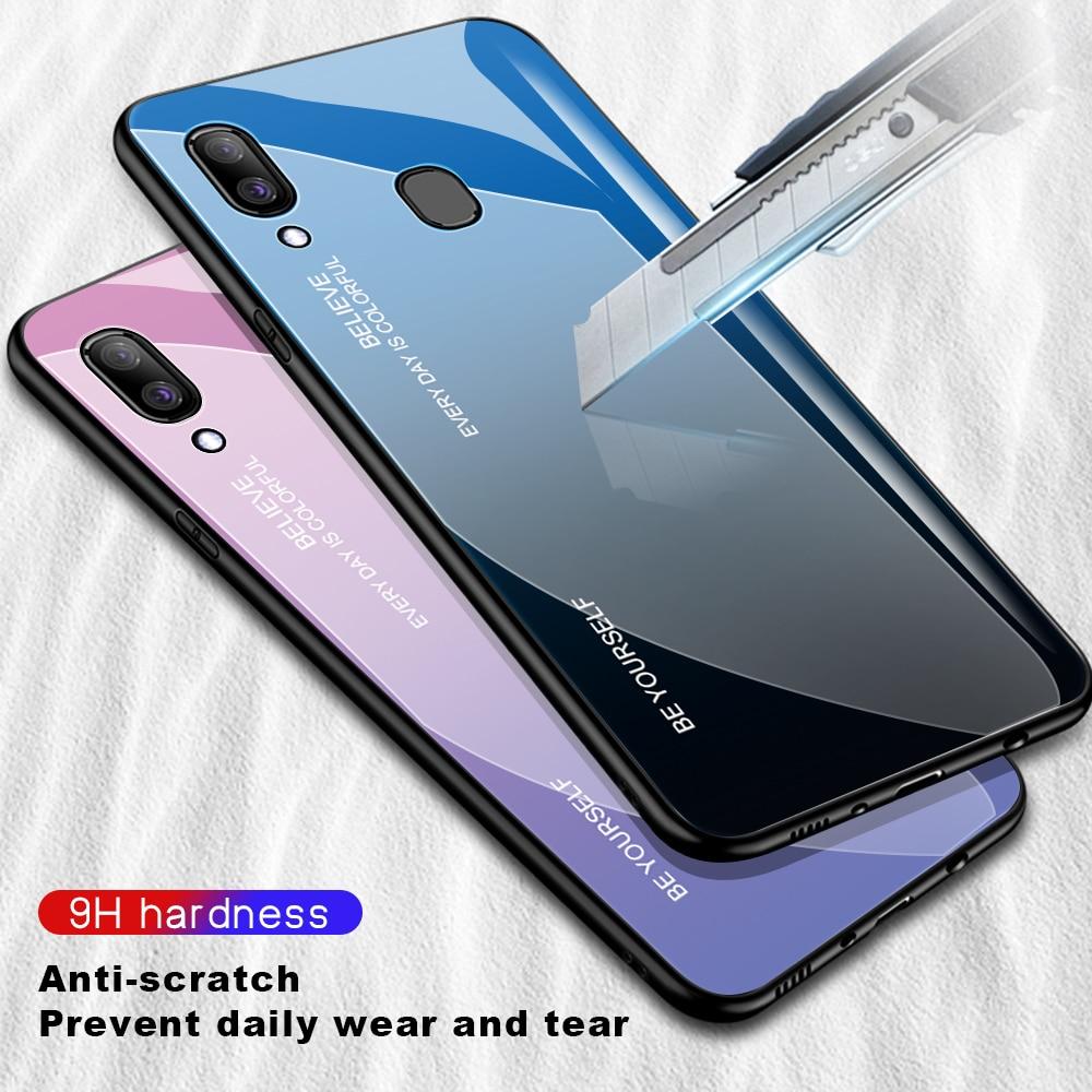 HTB1bGgCdA9E3KVjSZFGq6A19XXaw For Samsung Galaxy A20E A20S A20 Gradient Tempered Glass Case For Samsung Samsun A20 E S A 20e A20e Aurora Colorful Back Cover