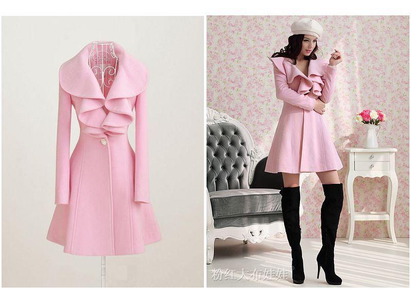 Online Shop Women Fishion Trench Coat Slim Pink Cashmere Parka ...