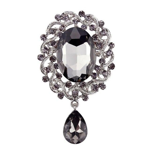 Grigio Di Cristallo Diamante Elizabeth Dell'annata di Goccia Spilla Spilli per Le Donne in Argento colore placcato