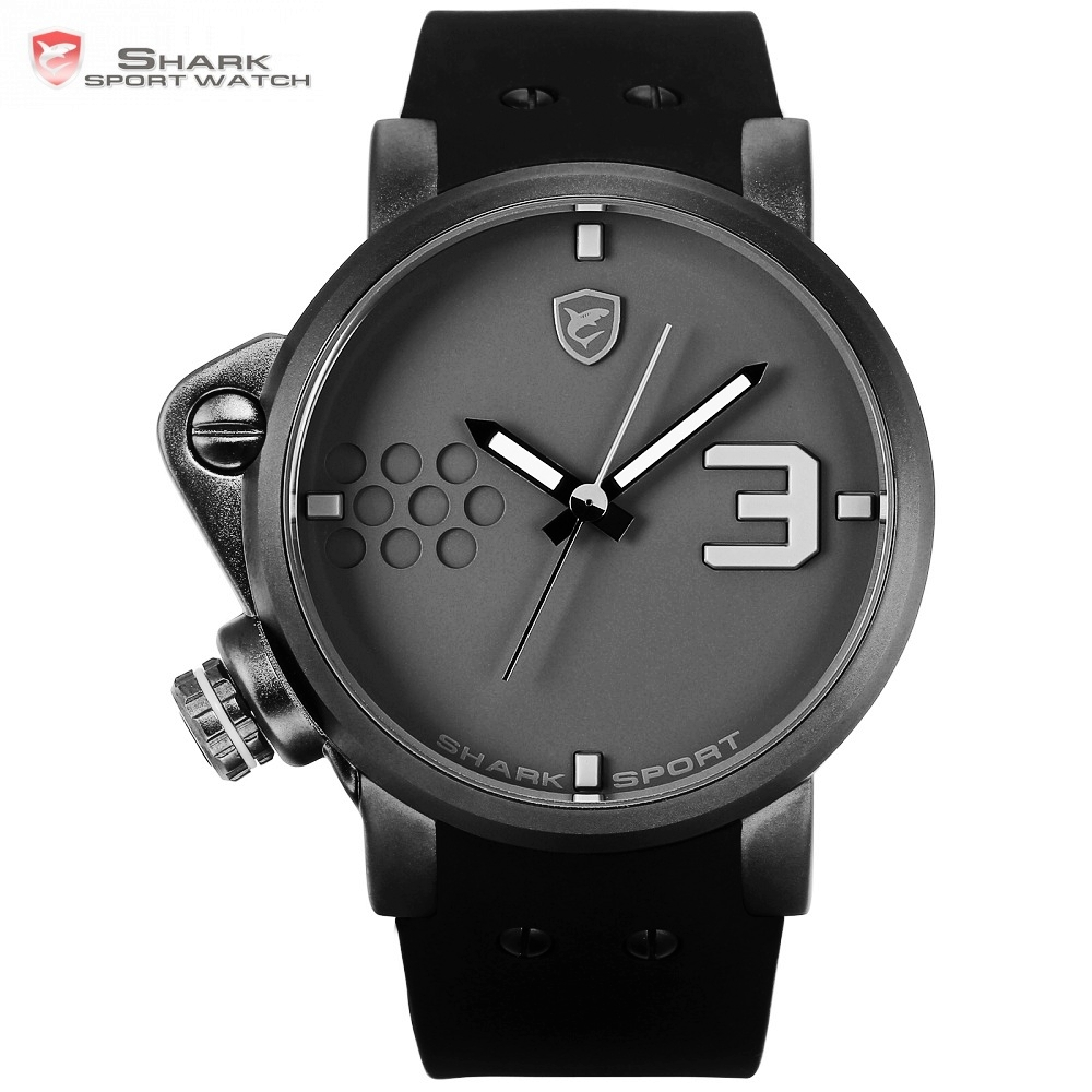 Salmon SHARK Sport Watch Creative Grey Left Crown Male Sports Silicone Band Casual Quartz Wrist Watches Relogio Masculino /SH518