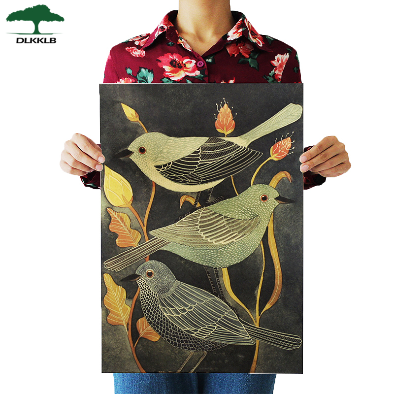 DLKKLB Nightingale Beauty Bird Vintage Poster Retro Decorative Painting Kraft Paper For Living Room Wall Sticker 51.5X36cm