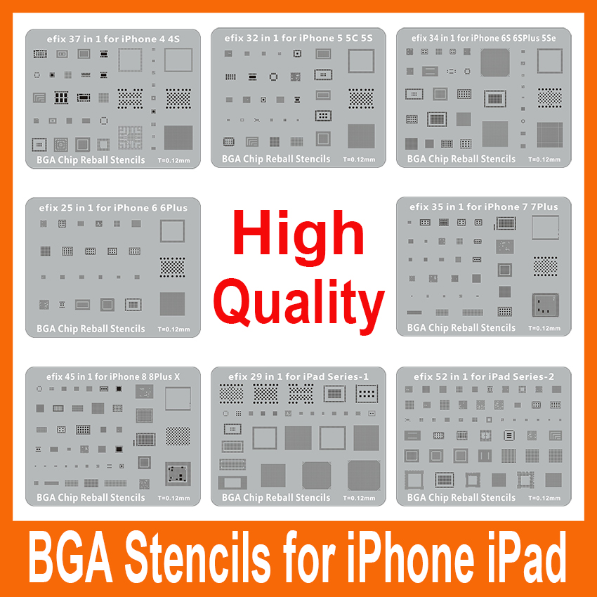 efix High Quality 8pcs/Lot IC Chip BGA Reball Stencils Solder Repair Tools Work with Hot Air Heat Gun for iPad iPhone X 8 7 6s.. 20pcs st079y 8 pin dip8 ic sockets adaptor solder type ic connector chip base high quality on sale