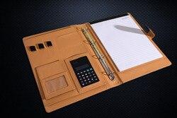 الأعمال مجلد ملفات منظم mulfifunction تصميم A4 حافظة جلدية 4 عصابة الموثق دفتر الملاحظات مع آلة حاسبة و أكياس الورق