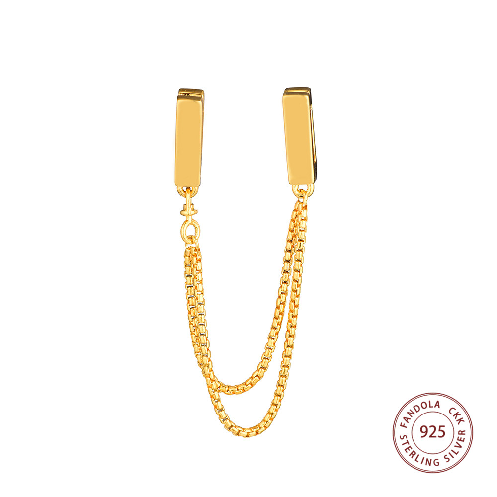 925 Sterling Silver Gold Plated LOGO Reflexions Floating Chains Safety Chain