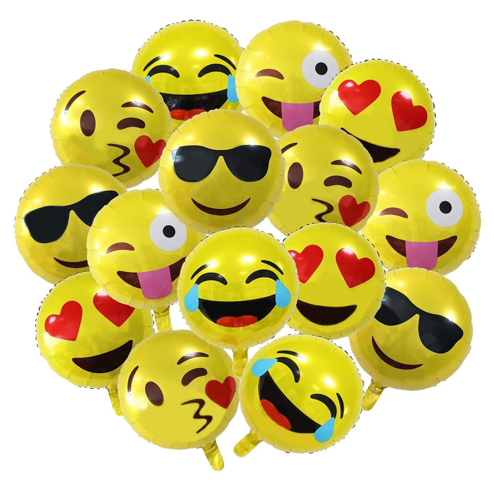 Hot Sale 18 Inch Emoji Smiley Face Mylar Balloons Expression Yellow Latex Balloon Party Wedding Cartoon Pokemon Inflatable Balls