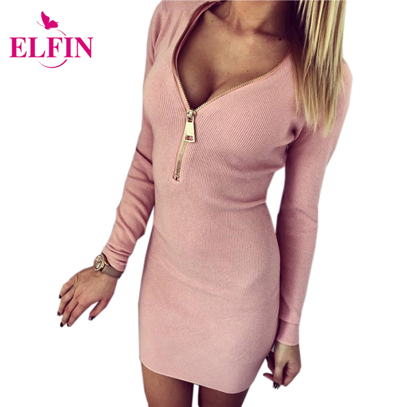 Autumn Women Dresses Zipper V-Neck Sexy Knitted Dress Long Sleeve Bodycon Sheath Pack Hip Dress Vestidos LQ8901R lolen women s fashion sheath dress and long sections package hip sexy v neck long sleeved knitted dresses nightclub