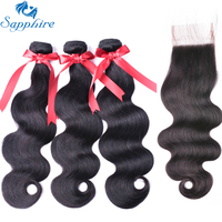 Sapphire Brazilian Body Wave Remy Human Hair Bundles With Lace Closure Natural Color Salon Hair High