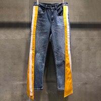 2019 модные летние женские джинсовые брюки повседневные Сращенные женские джинсы женские полосатые джинсы с карманами