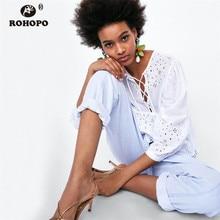 ROHOPO Long Sleeve Women Cotton Lace Autumn Top Woman Lantern Sleeve Bandage Tie Emboridery Floral Ruffles Top Tees #OYK9651 цена 2017