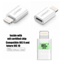 Ugreen MFI Certified Cable 8 Pin To Micro Usb Adapter 2A For IPhone 6 6S 5