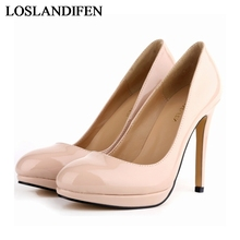 2018 Rushed Real Basic Thin Heel Pu Patent Leather Brand Womens Shoes High Heels Women Pumps 11cm Woman NLK-B0084