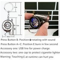 USB Cigarette lighter Sound Turbo Keychain Spinning Auto Part Model Turbine Turbocharger Key Chain Ring Keyfob Keyring Gift
