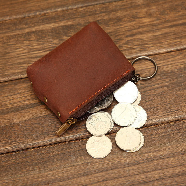 Handmade Vintage Genuine Leather Coin Bag Cow Real Wallet For Men And Women Key Holder With Zipper Id In Purses From Luggage