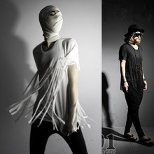 New Men's T-Shirts Men Nightclub Tassel Punk Rock Style Short Sleeve T Shirts Male Tee Shirts Men Slim Tops Tees K559