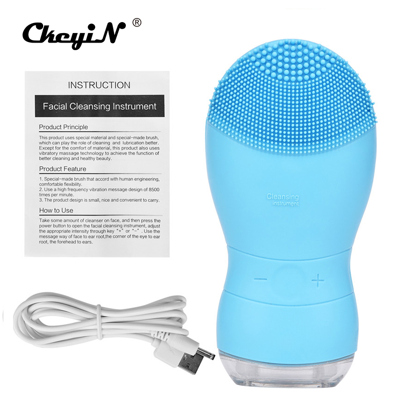 Facial Electric Cleansing Brush Sonic Vibration Double-side washing Face Cleaner Silicone Deep Pore Cleaning Massage Device P42Facial Electric Cleansing Brush Sonic Vibration Double-side washing Face Cleaner Silicone Deep Pore Cleaning Massage Device P42