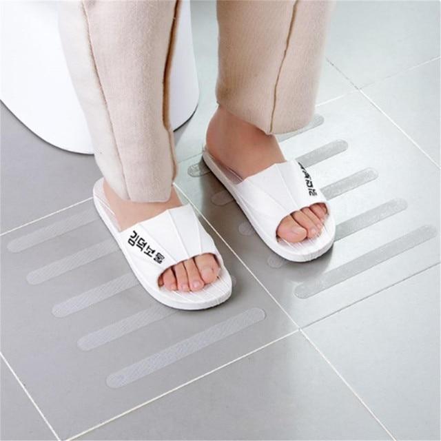 ISHOWTIENDA 5Pcs Anti Slip Bath Grip Stickers Non Slip Shower Strips Flooring Safety Tape Flooring Safety Tape Mat Pad 0706