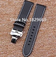 Correa de reloj 20 mm 22 mm nuevos Mens de la alta calidad de fibra de carbono del grano negro con costura blanco venda de reloj