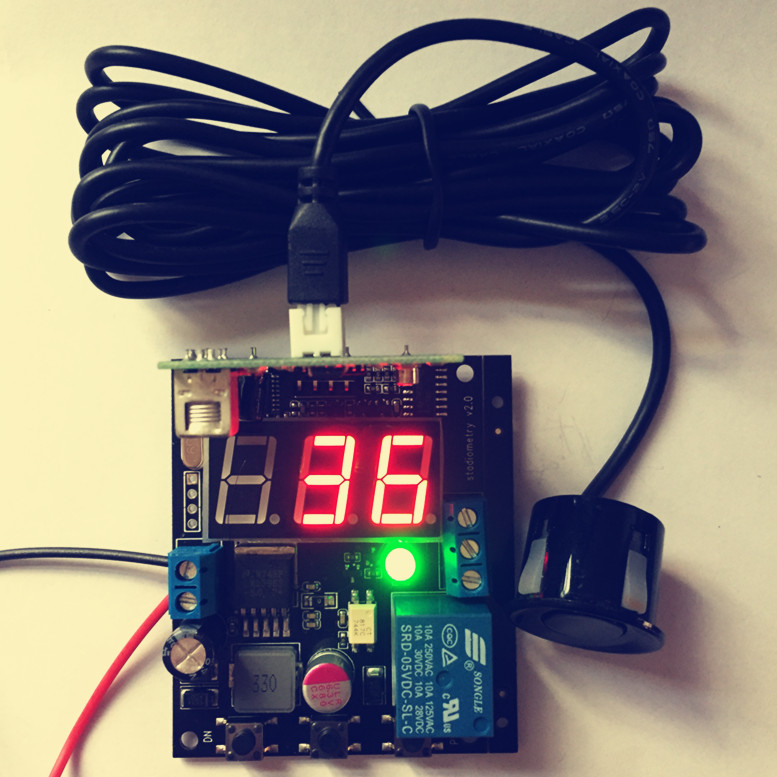 Image 2 - Free shipping Ultrasonic reversing radar sensor module With display relay output Adjustable distance with waterproof probe-in Sensors from Electronic Components & Supplies