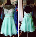 Mint Green Chiffon Illusion Neckline Beaded Bodice Cap Sleeve Short Homecoming Dress With Open Back